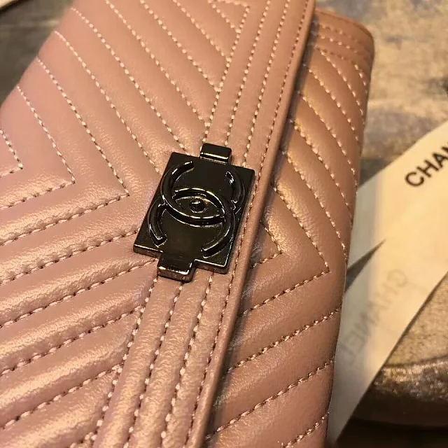 原版五金人字纹CHANEL包包包包小羊皮二折翻盖手包