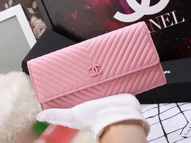 粉色二折翻盖19.5CM女士香奈儿手包