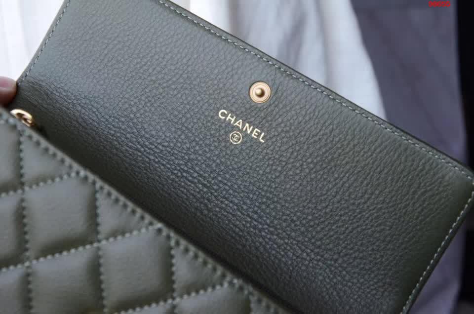 CHANEL包包包包进口牛皮钱包YKK五金绿色手包