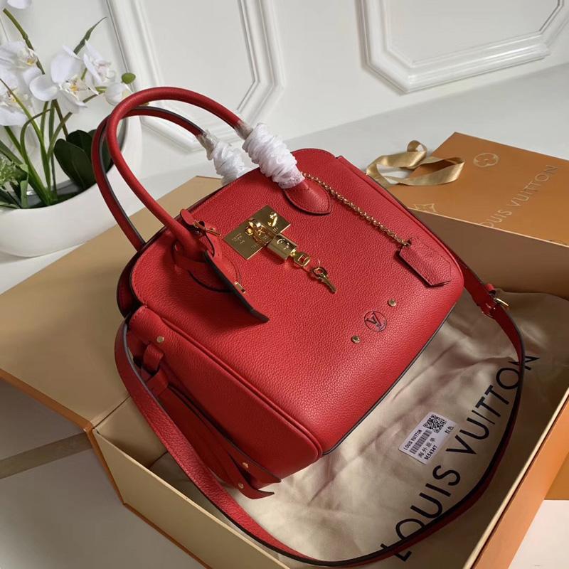 M54349 LV MILLA 小号手袋 Veau Nuage小牛皮女包 LV单肩手提包 红色