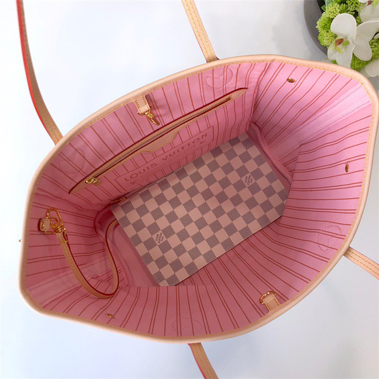 LV包包包包/路易威登女包女包 M41605 白格拼粉色 Neverfull 手袋