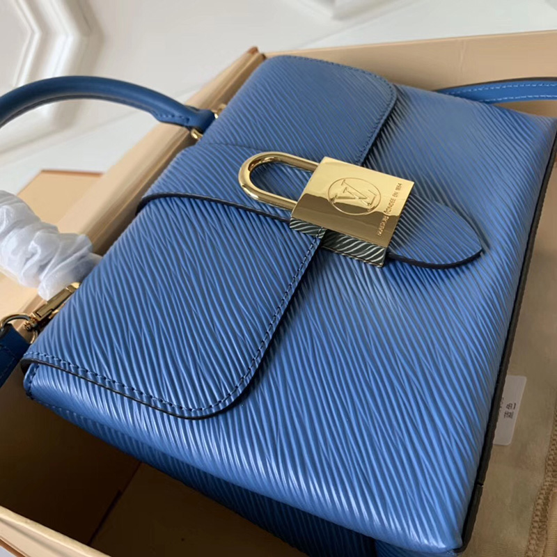M53159 LV Locky BB 手袋 Epi皮革挂锁包 LV女包 LV手提包 LV单肩包 牛仔蓝