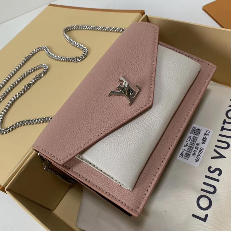 M63980 LV POCHETTE MYLOCKME 链条钱夹 LV手包 LV晚宴包 粉色