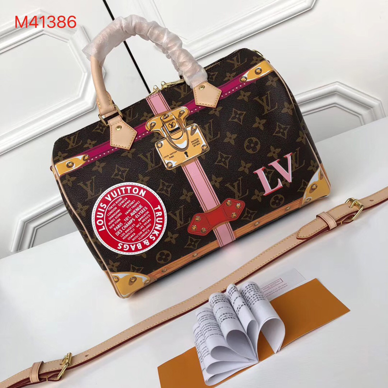 M41386 LV Speedy 30 手袋 LV挂锁丝印图案女包 LV老花女包 LV枕头包