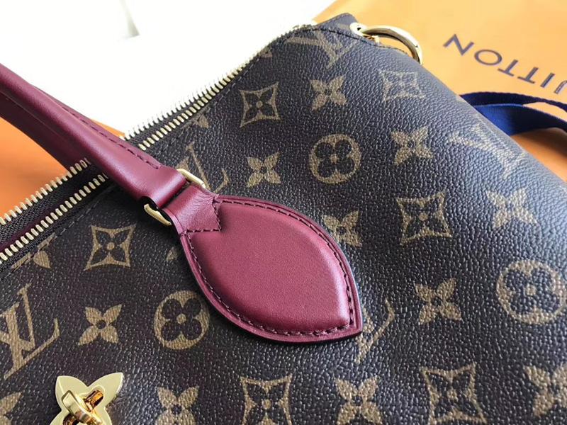 M44348 LV Flower 中号拉链 Tote 手袋 LV女包 单肩手提包 酒红色