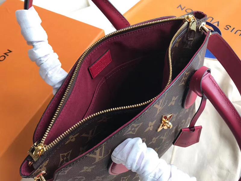 M44350 LV Flower BB 拉链 Tote 手袋 LV女包 单肩手提包 酒红色