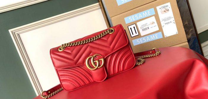 高仿包包哪里可以买 Gucci女包446744链条包443497单肩包 红色
